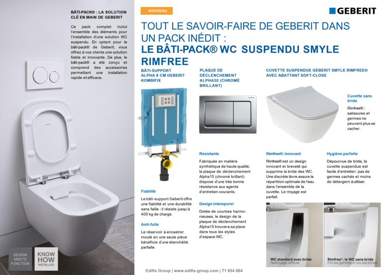Bâti-pack® WC suspendu Geberit Smyle Rimfree avec plaque design Alpha 30