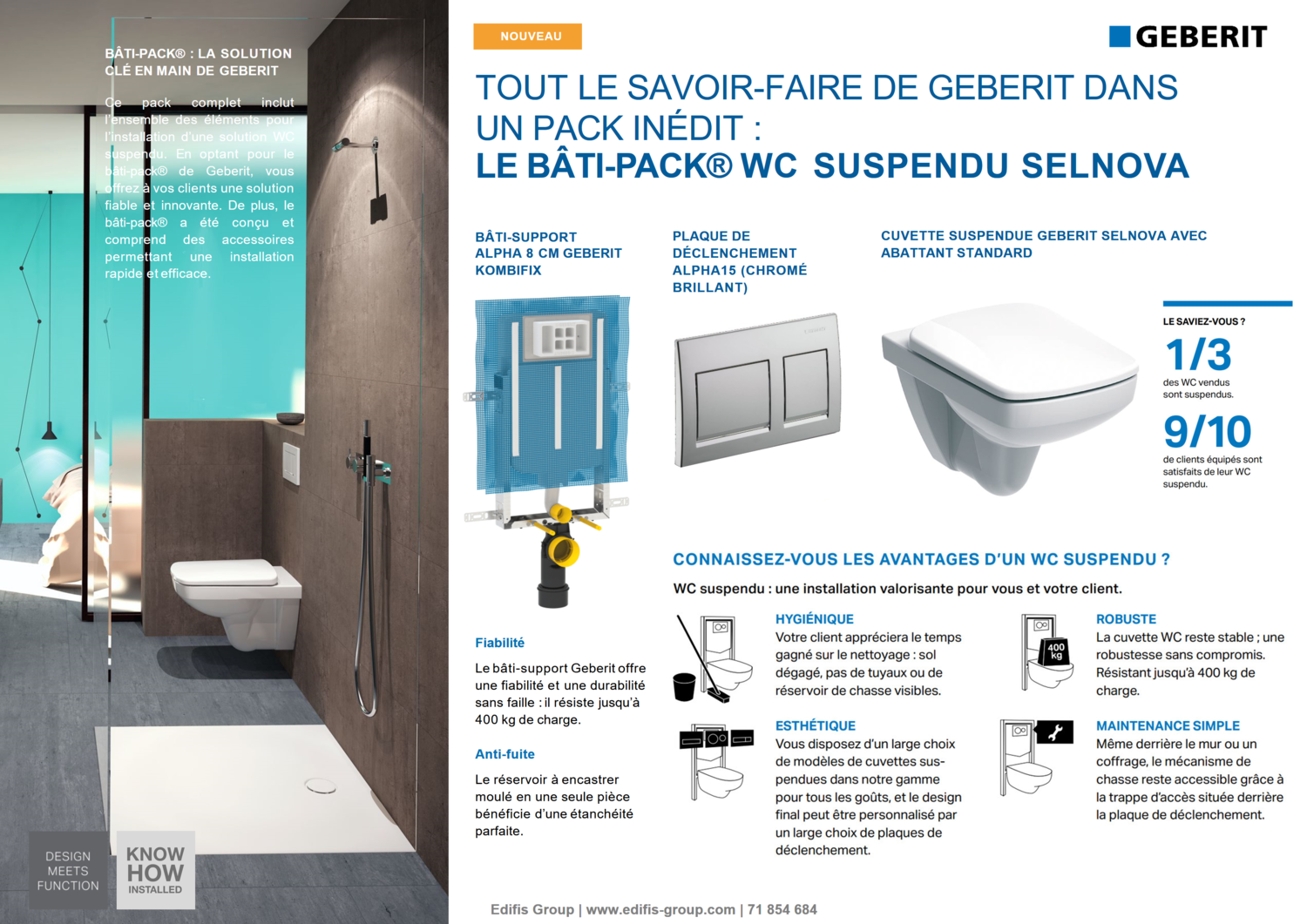 Bâti-pack® WC suspendu Geberit Selnova