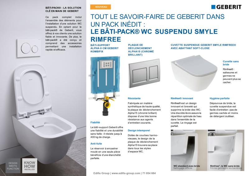 Bâti-pack® WC suspendu Geberit Smyle Rimfree