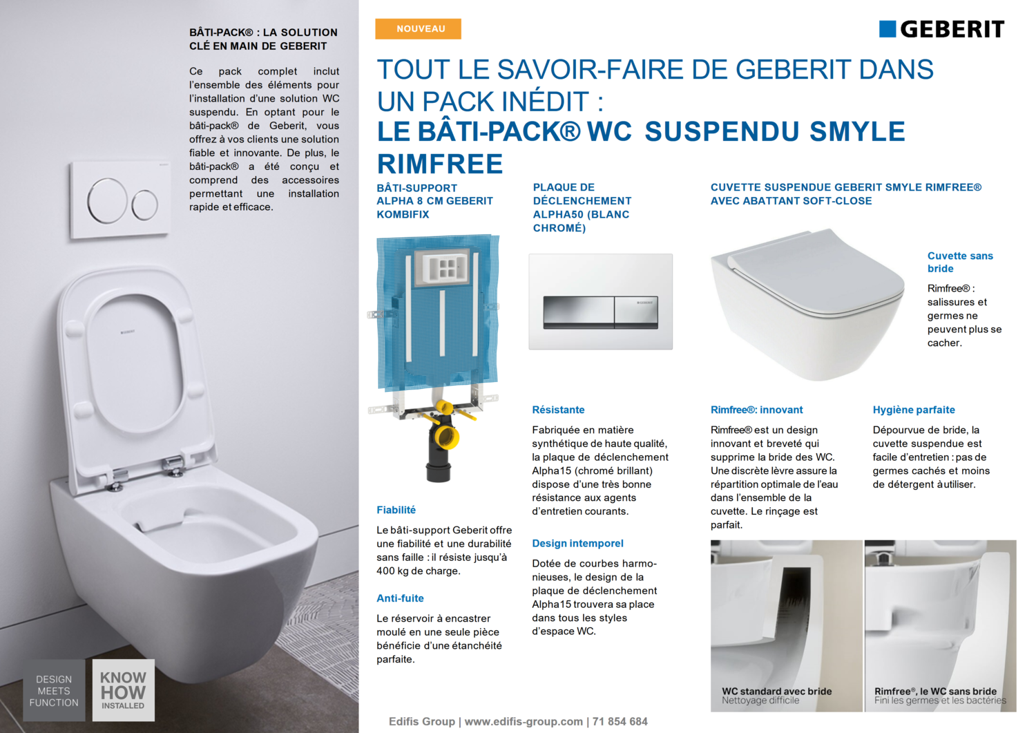 Bâti-pack® WC suspendu Geberit Smyle Rimfree avec plaque design Alpha 50