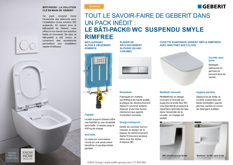 Bâti-pack® WC suspendu Geberit Smyle Rimfree avec plaque design Alpha 50