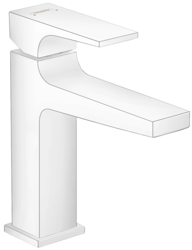 Mitigeur de lavabo Hansgrohe Metropol 110 en blanc mat avec bonde Push-Open