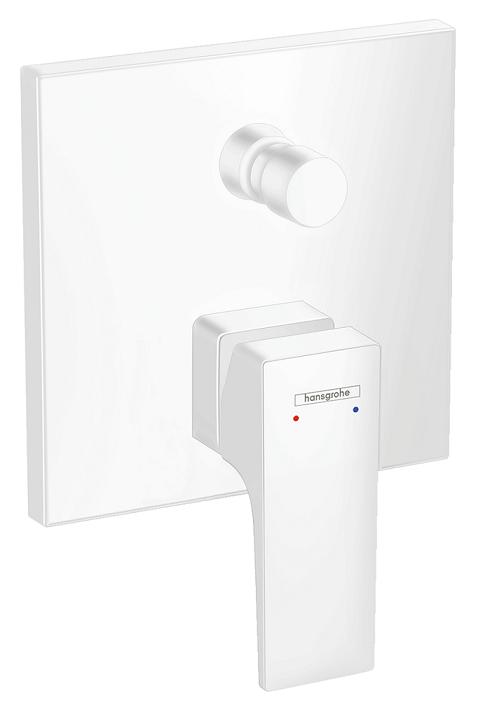 Set de finition pour mitigeur bain / douche encastré Hansgrohe Metropol en blanc mat
