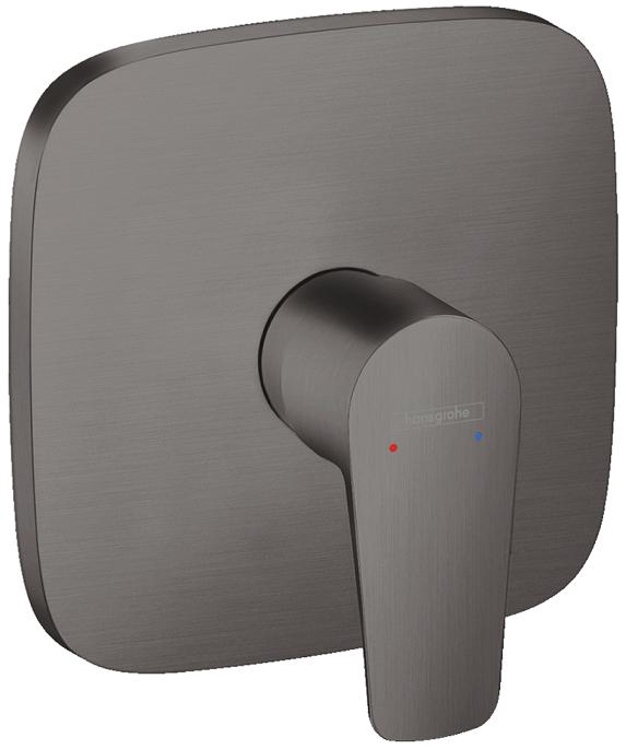 Set de finition pour mitigeur de douche encastré Hansgrohe Talis E en noir chromé brossé