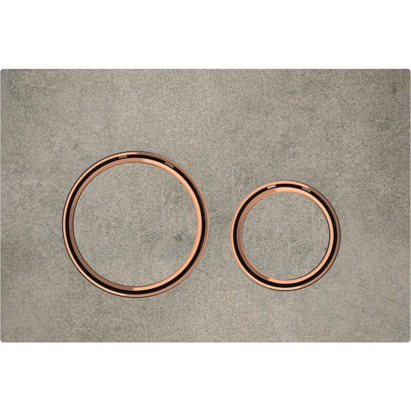 Plaque de déclenchement Geberit Sigma21 / Aspect béton et or rouge