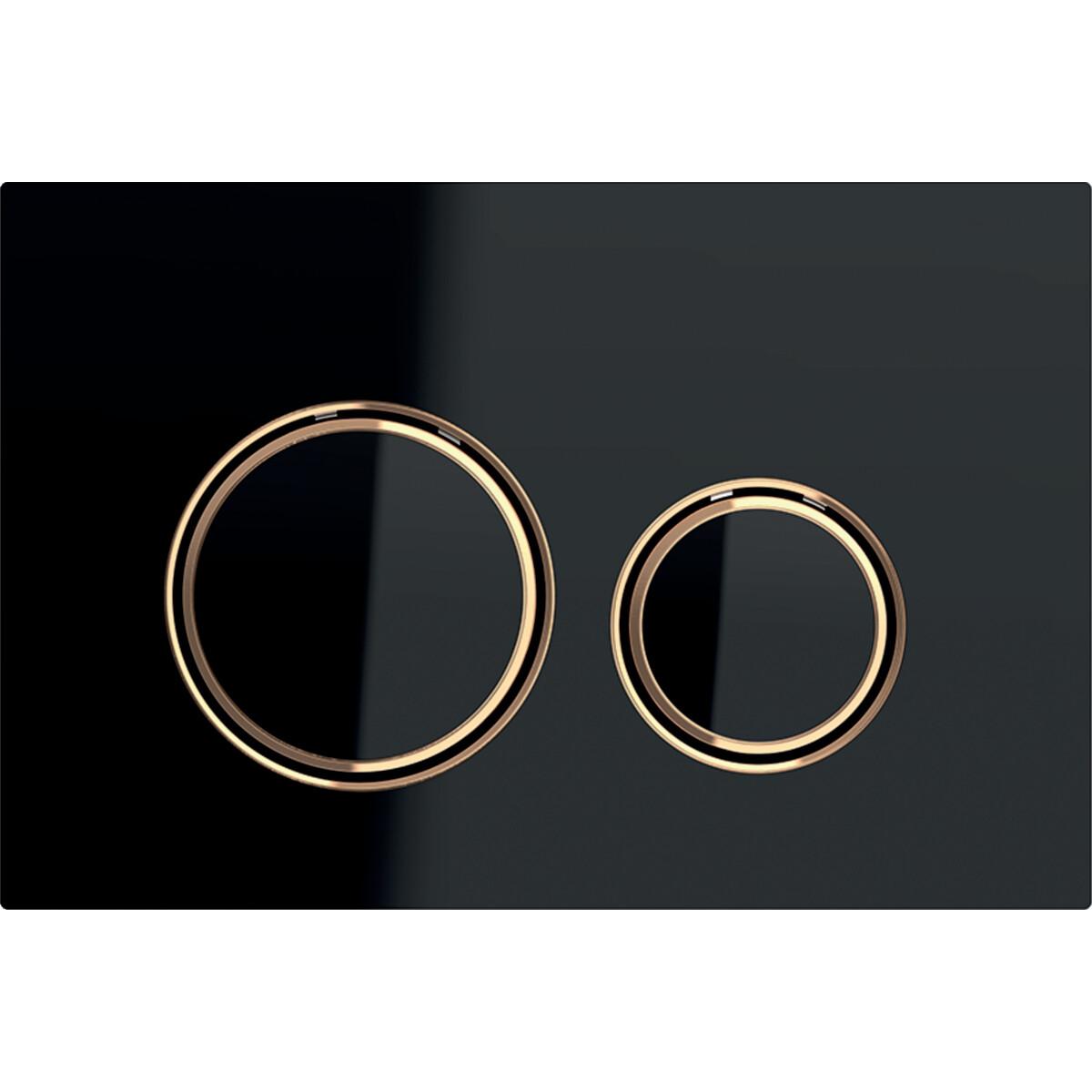 Plaque de déclenchement Geberit Sigma21 / Verre noir et or rouge