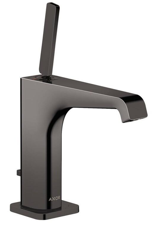 Mitigeur de lavabo AXOR Citterio E 130 avec tirette et vidage en noir chromé poli