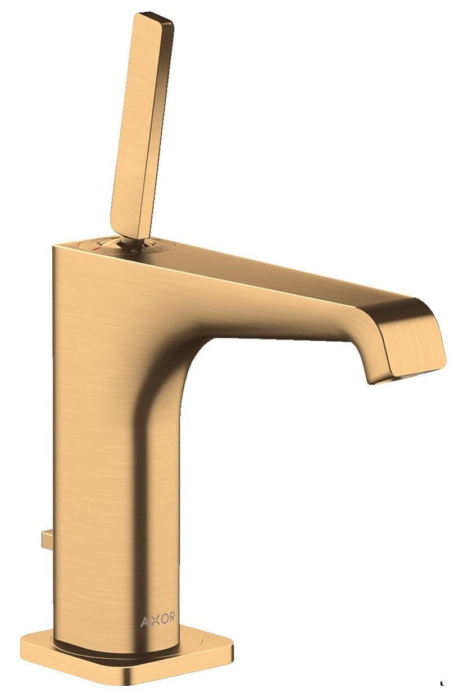 Mitigeur de lavabo AXOR Citterio E 130 avec tirette et vidage en laiton brossé
