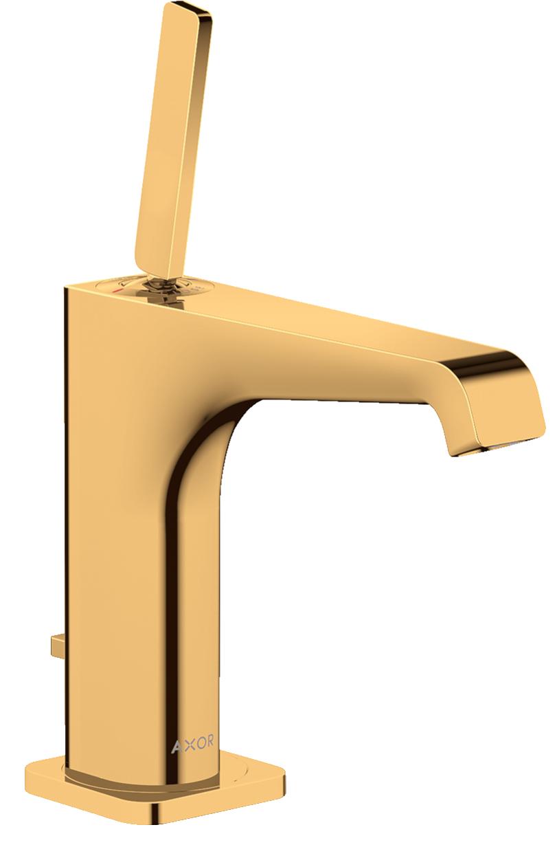 Mitigeur de lavabo AXOR Citterio E 130 avec tirette et vidage aspect doré poli