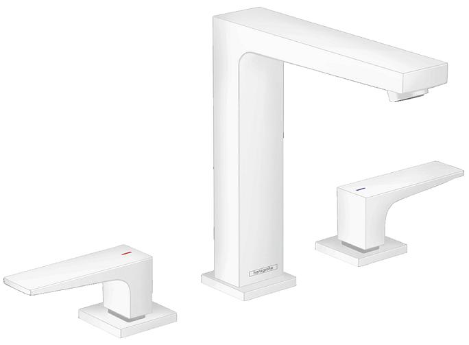 Mélangeur de lavabo 3 trous Hansgrohe Metropol 160 en blanc mat avec bonde Push-Open
