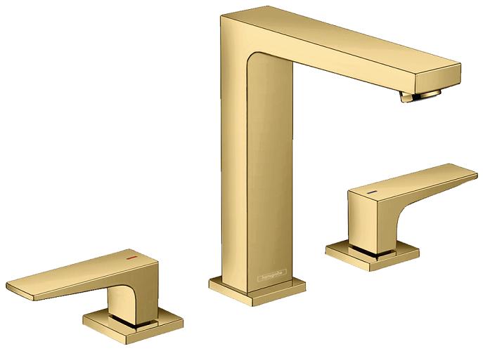 Mélangeur de lavabo 3 trous Hansgrohe Metropol 160 aspect doré poli avec bonde Push-Open