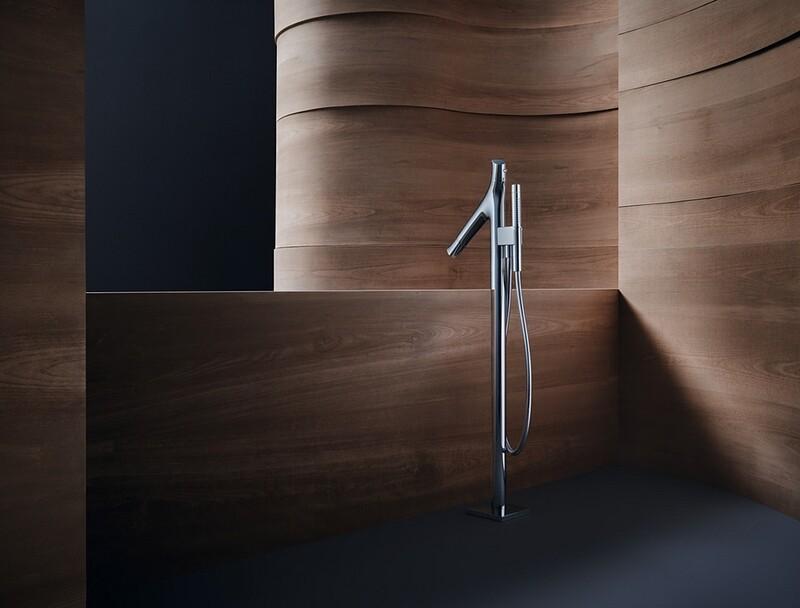 Mitigeur de bain / douche AXOR Starck Organic pour montage au sol - Finition : Or rouge brossé