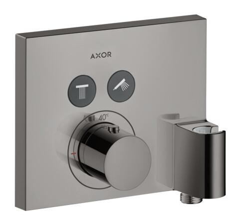 Set de finition pour mitigeur thermostatique encastré Axor ShowerSelect 2 fonctions avec fixfit et porter - Finition : Noir poli