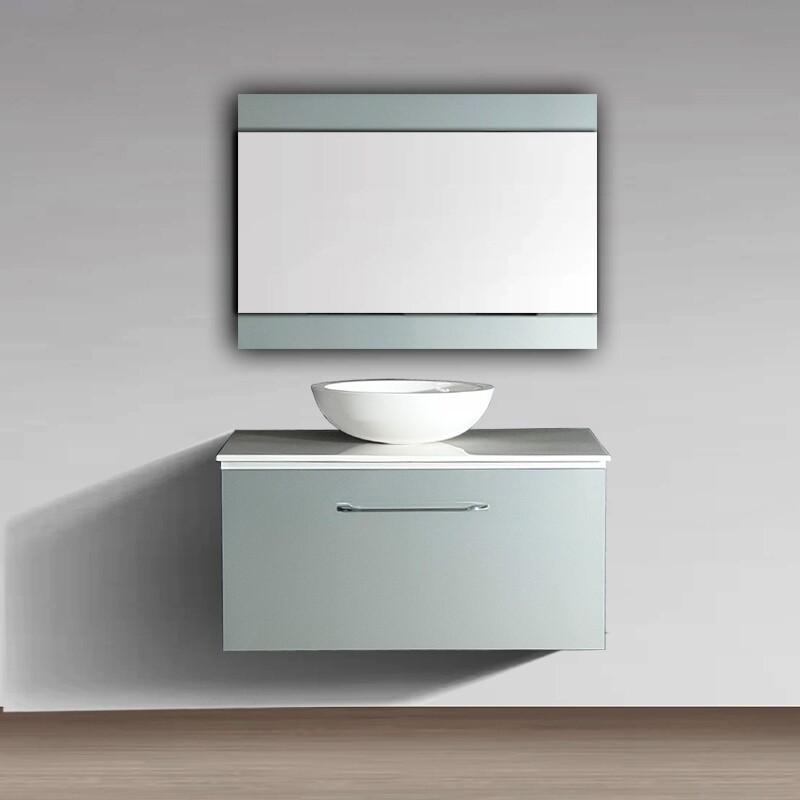 Plan Stone 90 cm avec bol, meuble et miroir