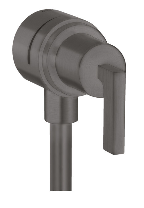 Fixfit Stop Coude de raccordement avec robinet d'arrêt intégré en Chromé noir brossé