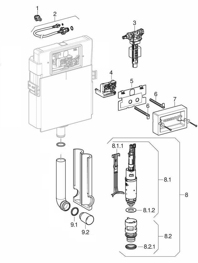 Ensemble des pièces détachées | Réservoir encastré Geberit Delta 12 cm