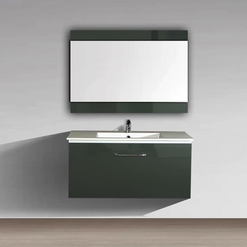 Plan-vasque Comete 96 cm avec meuble et miroir