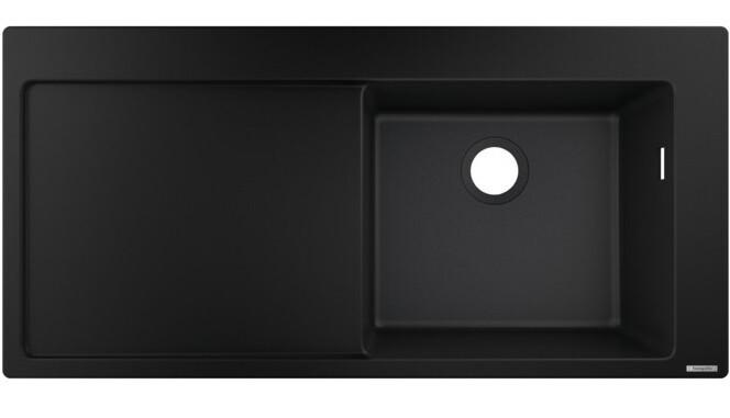 Évier encastré simple bac 105 cm avec égouttoir en noir graphite