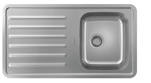 Évier encastré simple bac 34 x 40 cm avec égouttoir