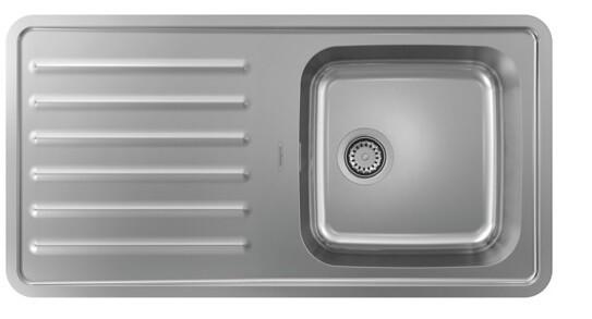 Évier encastré simple bac 40 x 40 cm avec égouttoir