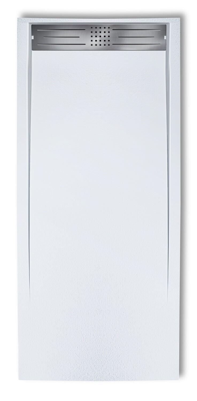 Receveur de douche rectangulaire Galaxite extra-plat et anti-dérapant (120 à 180 cm) x 80 cm avec grille design en inox et vidage