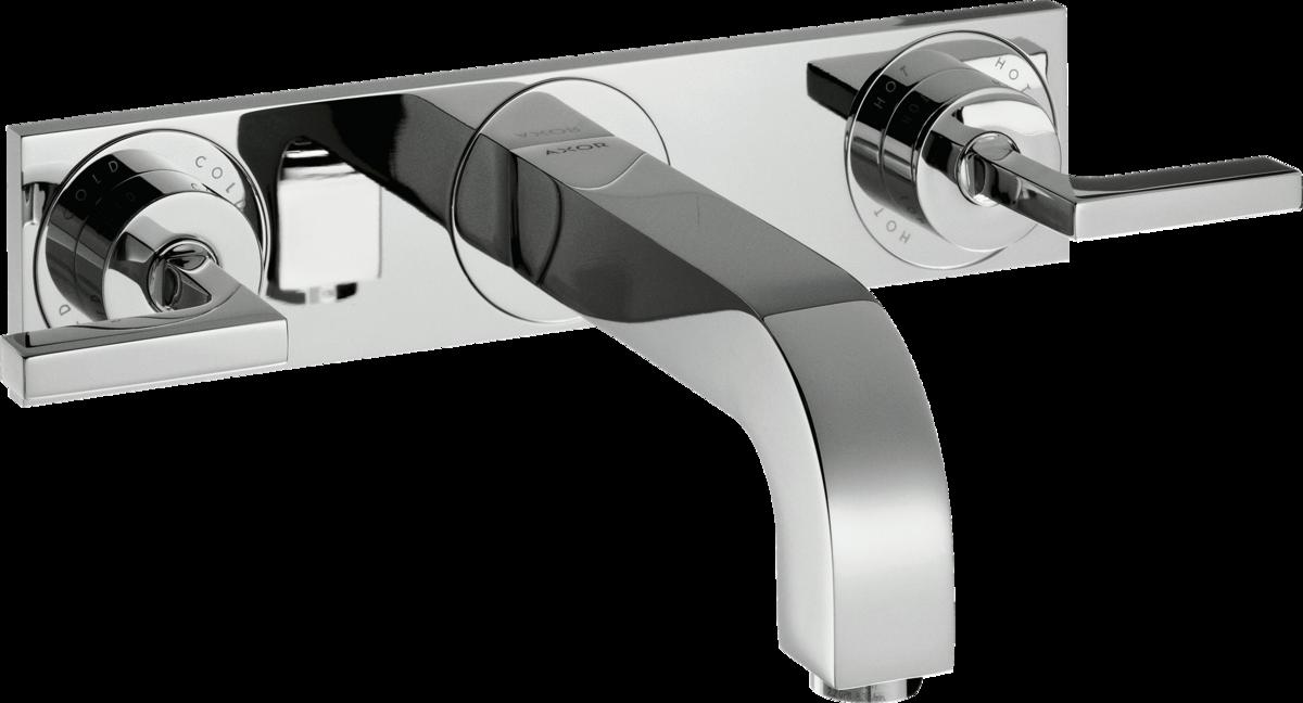 Mélangeur de lavabo encastré AXOR Citterio 226 mm avec poignée et plaque