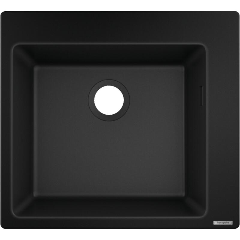 Évier encastré simple bac 45 cm sans égouttoir en noir graphite