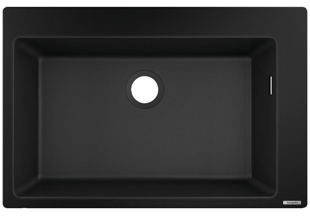 Évier encastré simple bac 66 cm sans égouttoir en noir graphite
