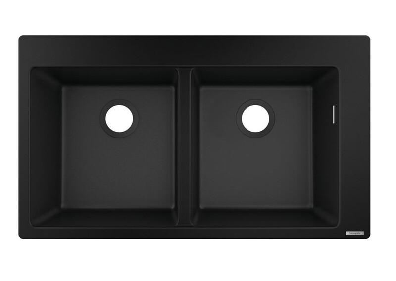 Évier encastré double bac 37 x 37 cm sans égouttoir en noir graphite