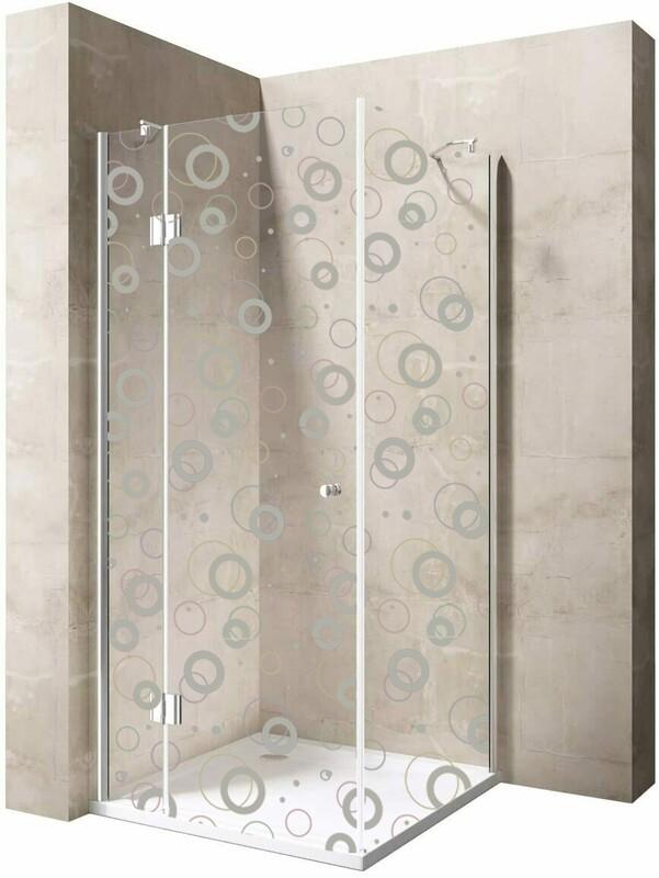 Cabine de douche Innovativ en verre trempé clair avec motif et porte pivotante