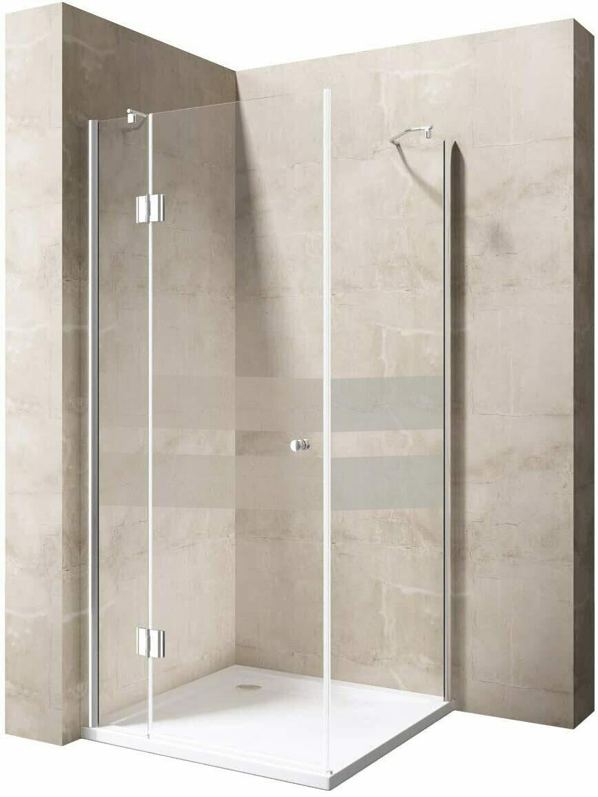 Cabine de douche Innovativ en verre trempé clair avec deux bandes sablées et porte pivotante