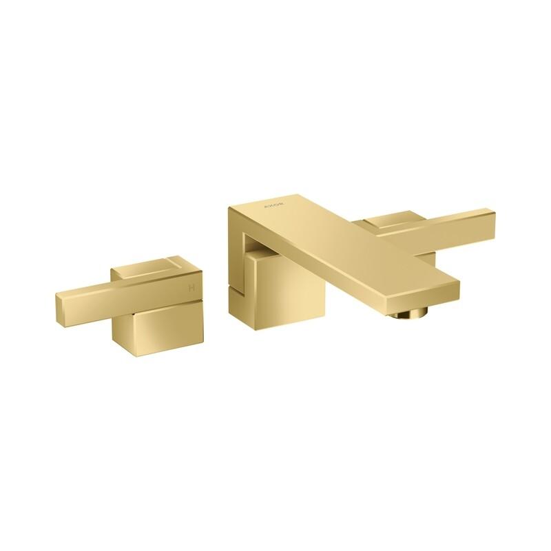 Mélangeur de lavabo 3 trous encastré AXOR Edge 190 mm avec bonde push-open aspect doré poli