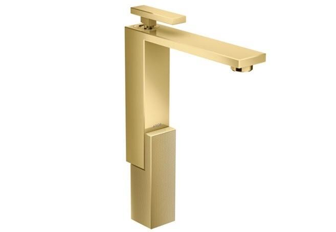 Mitigeur de lavabo AXOR Edge 280 avec bonde push-open coupe diamant aspect doré poli