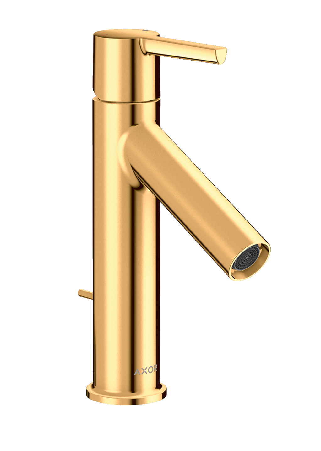 Mitigeur de lavabo AXOR Starck 100 avec poignée à levier et tirette de vidage aspect doré poli