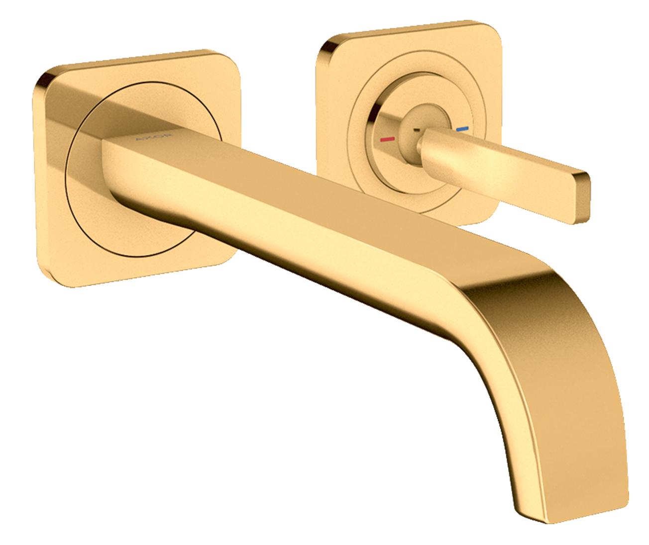 Mitigeur de lavabo encastré AXOR Citterio E 221 mm aspect doré poli