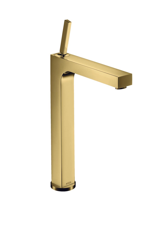 Mitigeur de lavabo AXOR Citterio 280 surélevé pour vasque libre avec tirette et vidage aspect doré poli