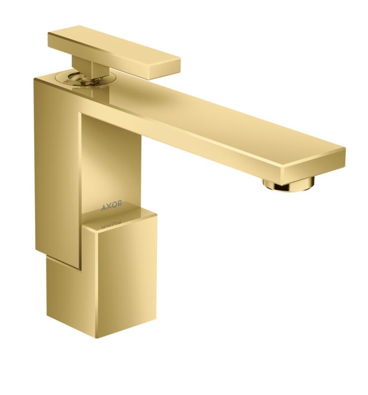 Mitigeur de lavabo AXOR Edge 130 avec bonde push-open aspect doré poli