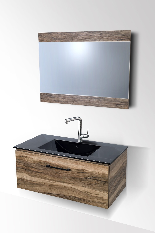 Plan-vasque Comete 96 cm en noir avec meuble et miroir