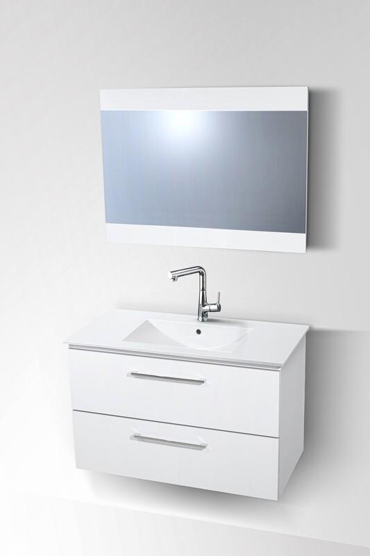 Plan-vasque Comete 72 cm avec meuble et miroir