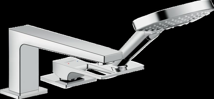 Mitigeur 3 trous pour montage sur bord de baignoire Hansgrohe  Metropol sans Secuflex, avec poignée étrier