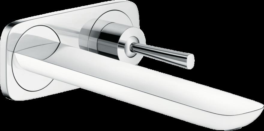 Mitigeur de lavabo encastré Hansgrohe PuraVida, bec long  225 mm, en blanc chromé