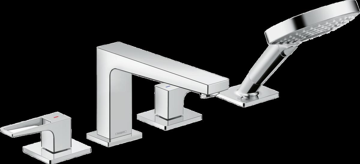 Mélangeur 4 trous pour montage sur bord de baignoire Hansgrohe  Metropol sans Secuflex,  avec poignée étrier