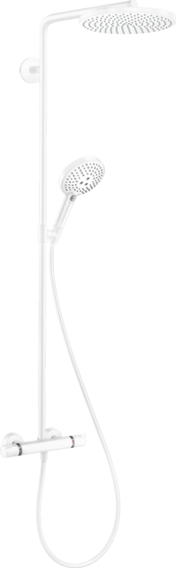 Colonne de douche Showerpipe Hansgrohe Raindance Select S 240 1 jet PowderRain avec mitigeur thermostatique en blanc mat