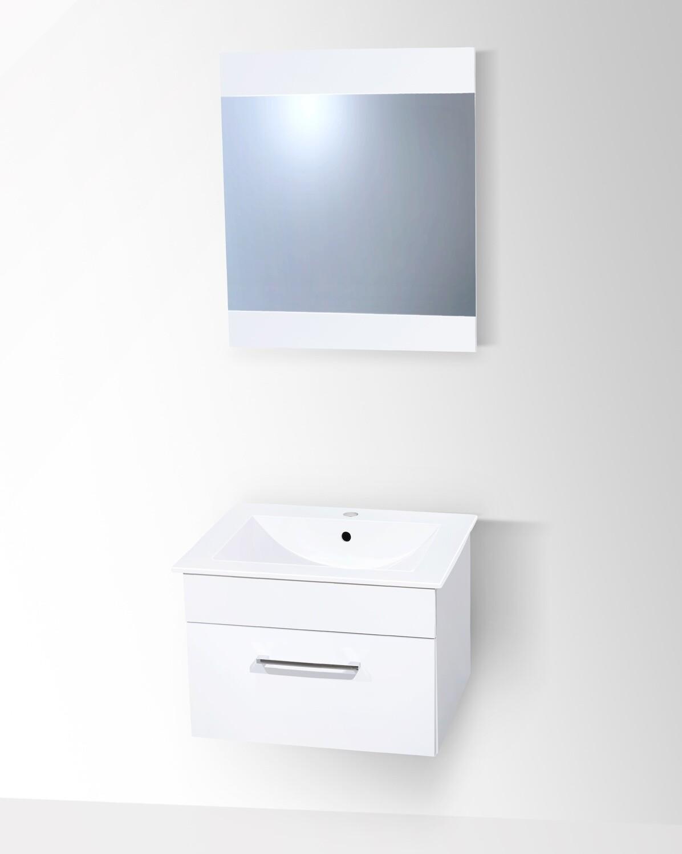 Plan-vasque Spazio 60 cm extra plat avec meuble et miroir