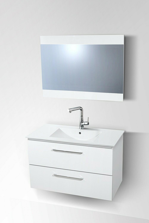 Plan-vasque Comete 96 cm avec meuble à deux tiroirs et miroir
