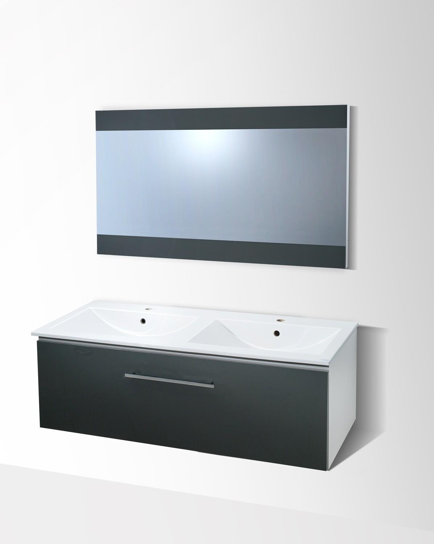 Plan-vasque double Comete 120 cm avec meuble et miroir