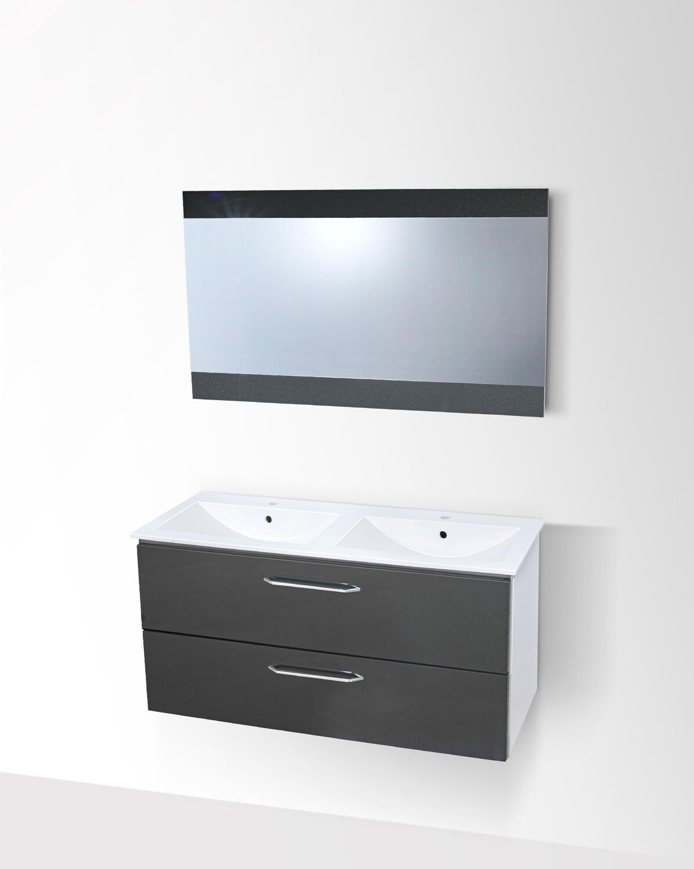 Plan-vasque double Comete 120 cm avec meuble à deux tiroirs et miroir