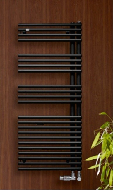 Radiateur sèche-serviettes Acova / Zehnder Forma Asym 120 x 50 cm - Noir