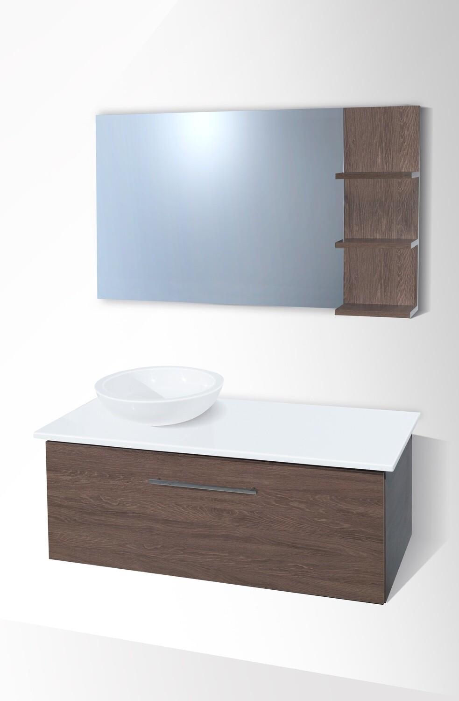 Plan Stone 120 cm avec bol, meuble et miroir