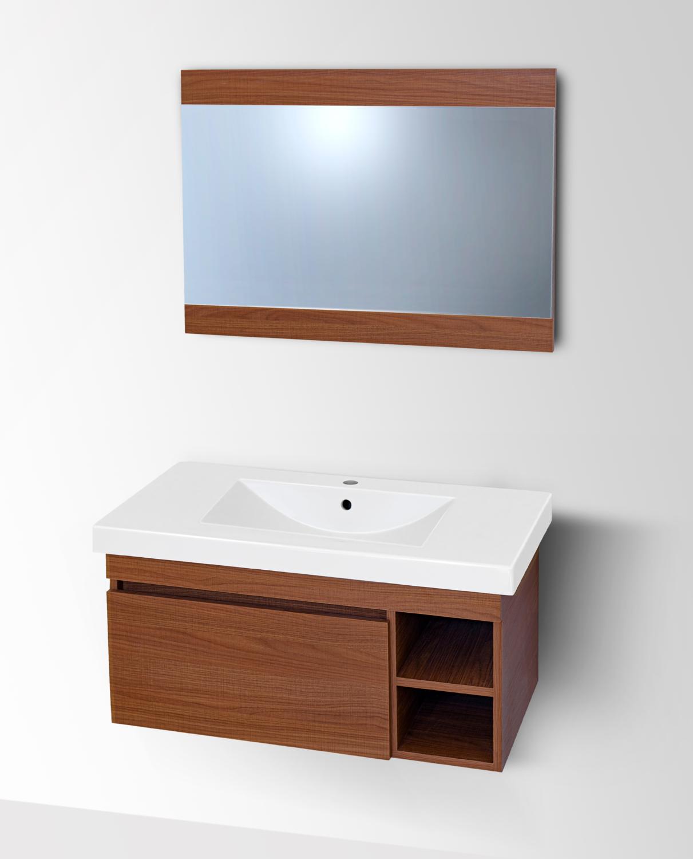 Plan-vasque Spazio 90 cm avec meuble et miroir